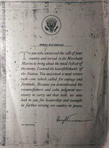 Diploma de veterano de la segunda guerra mundial dada por el Presidente de los Estados Unidos